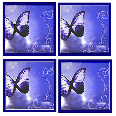 Blue Butterfly Coasters - Set Of 4 Fun Coasters - Gift/ Present - Brand New