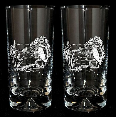 *KINGFISHER GIFT* Boxed Pair of GLASS HIGHBALL TUMBLERS with KINGFISHER design