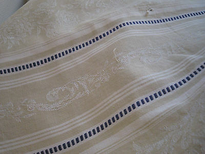 ANTIQUE FRENCH TICKING FABRIC - Blue Stripes - Damask Beige - 4.30Yards