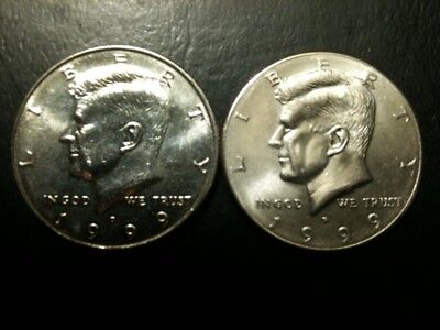 1999 P&D Kennedy Half Dollar Set AU/BU Clad no Silver 50 Cent About UNC MS Mint