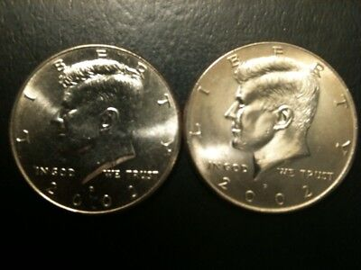 2002 P&D Kennedy Half Dollar Set GEM BU From MINT BAG Clad No Silver 50 Cent PD