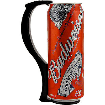 Instant Beer Stein Can Grip Handle - 24 oz Tall Boy - Black - Drink Attachment