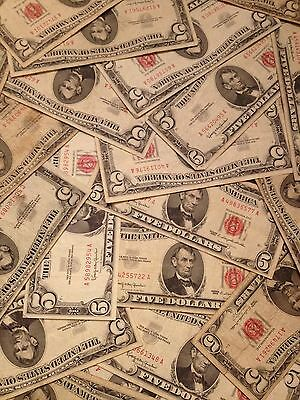 ☆$5 Red Seal Lincoln Dollars ☆Silver Certificate Old Estate Money Lot☆1953 1963☆