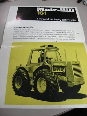 Muir Hill 161 4wd older tractor brochure, hard to find, 2 pages