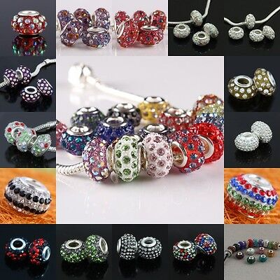 Crystal Rhinestone Rondelle Resin European Charm Bead Spacers Fit Bracelet Craft
