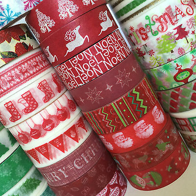 Washi Tape Christmas Designs Lots To Choose 15Mm X 10Mtr Roll Plan Craft Wrap