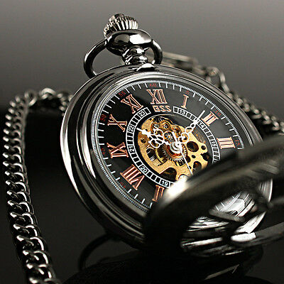 Retro Black Dial Skeleton Windup Mechanical Vintage Steel Chain Men Pocket Watch