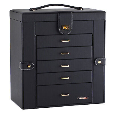 Large Jewellery Box Necklace Earring Display Organiser 6 Layer Ring Storage Case