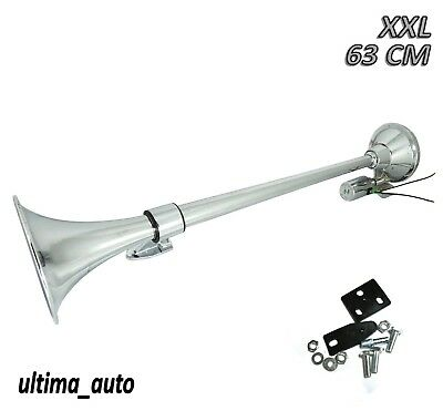 Universal Chromed Air Horn 12V/24V Truck Lorry 63cm XL