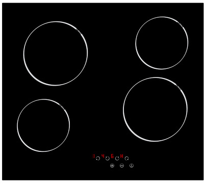 MyAppliances REF29126 60cm Touch Control 4 Zone Electric Ceramic Hob Black