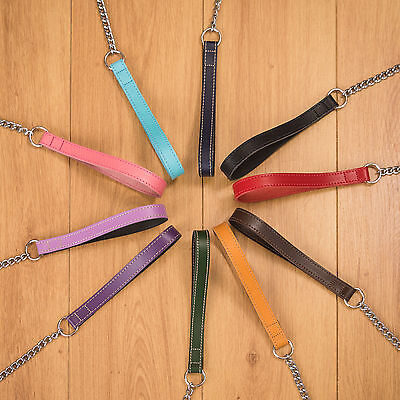 Leather Chain Leads 4 Sizes 10 Colours Made In The Uk