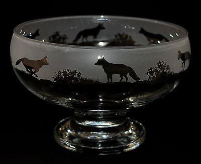 *FOX GIFT*  Boxed FOOTED GLASS BOWL with FOX FRIEZE design