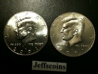 2001 P&D Kennedy Half Dollar Set GEM BU From MINT ROLL Clad No Silver 50 Cent
