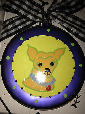 New In Box Glass Chihuahua Christmas Ornament
