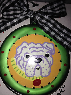 New In Box Glass Bulldog Christmas Ornament