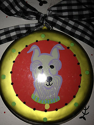 New In Box Glass Schnauzer Christmas Ornament