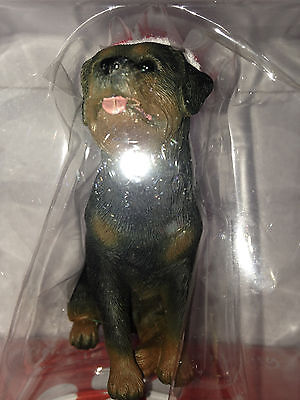 New In Box Sandicast Dog Christmas Ornament Rottweiler Rott Rotti with Santa Hat