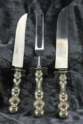American 3pc Set Sterling Silver Handled Carving Pieces - Fork, and two knives.
