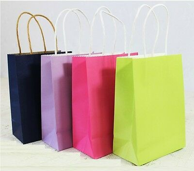 10pcs Candy Color Gift Paper Bag Pouch For Holding Wedding Favor Loot Bags S/M/L