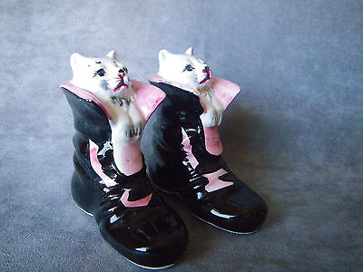 "Antique ""Puss in Boots"" Cat Salt & Pepper Shakers"