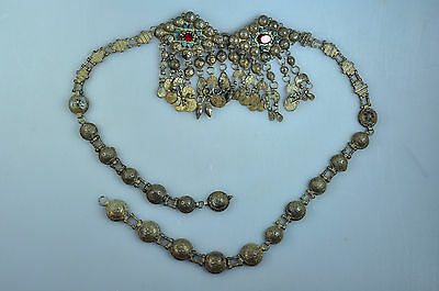 Antique Safavid Qajar Solid Silver Belt Buckle Necklace Coin Persia
