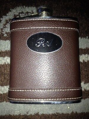"Personalized 7oz Stainless Steel Leather Flask w/ Engraving ""PA"" on Front"