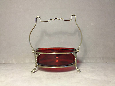 Antique EPNS Handled & Footed Holder/Basket W/ Victorian Cranberry Glass Insert