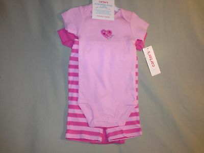 New 6 Months Lot Carters Bodysuit And Pants Pink Stripes Nwt 3 Piece Set