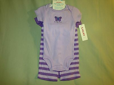 New 6 Months Lot Carters Bodysuit And Pants Purple Stripes Nwt 3 Piece Set