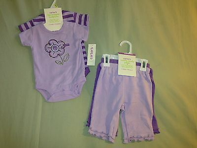 New 3 Months Lot Carters Bodysuits Matching Pants Ruffles Purple Stripes