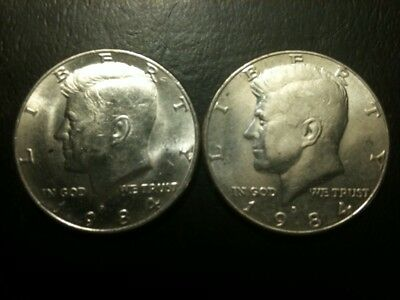 1984 P&D Kennedy Half Dollar Set AU/BU Clad no Silver 50 Cent About UNC MS Mint