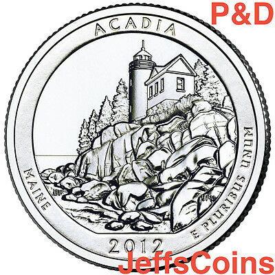 2012 P&d Acadia National State Park Quarter Set Ms 25 Cent U.s. Mint Unc Pd Atb