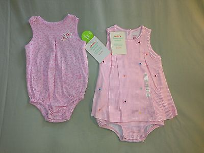 New Carters 18 Months Lot 2 Pink Rompers Keep Cool Sun Suit One Piece