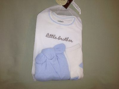 New Carters 9 Months 4 Piece Little Brother Gift Set Cap Bodysuit Pants Socks