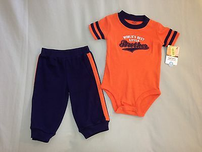 New 18 Months Carters Bodysuit And Pants 2 Piece Set Orange Blue Little Brother