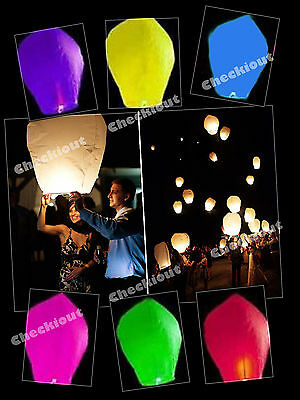 10x MIX COLORS Paper Chinese Lanterns Sky Fly Candle Lamp Wishing Party Wedding