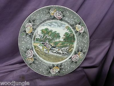 Vintage ADAMS CHINA ENGLAND STAR OF THE ROAD PLATE CURRIER ( & IVES ) Antique