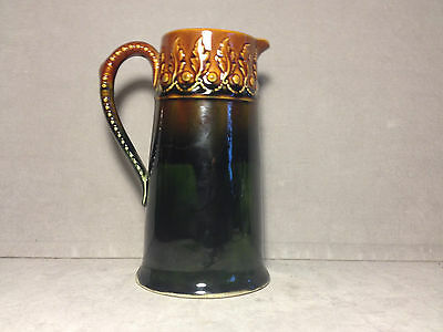 Antique Hampshire Pottery High Glaze Pitcher W/ Embossed Holly Band/Handle