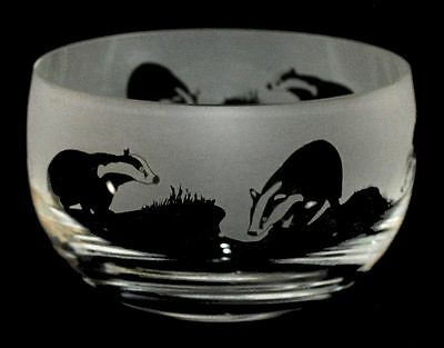 BADGER GIFT ~ Boxed 12.5cm CRYSTAL GLASS SWEET BOWL with BADGER Frieze
