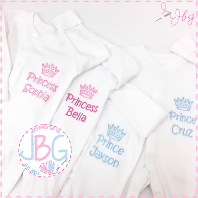Personalised Baby Sleepsuit/Baby Grow clothes, Crown Design, Boy or Girl Gift