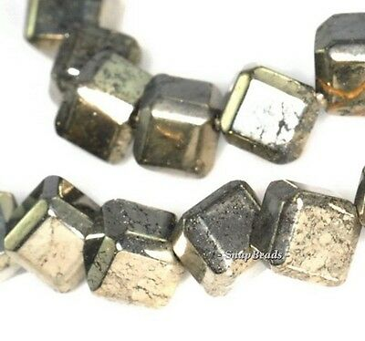"""8MM IRON PYRITE GEMSTONE DIAGONAL-DRILL SQUARE CUBE 8X8MM LOOSE BEADS 16/"""""""