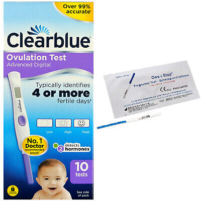 10 Advanced Clearblue Digital Ovulation Dual Hormone Indicator+2 Pregnancy Tests