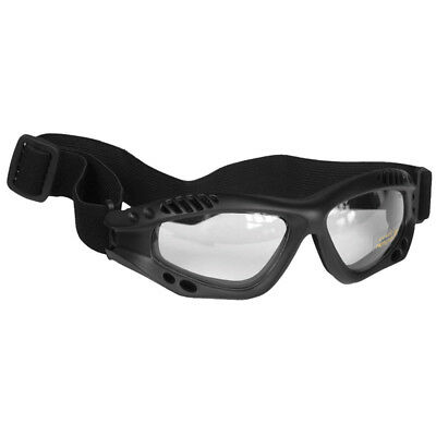 Military Tactical Commando Air Pro Goggles Eye Protection Clear Lens Black Frame