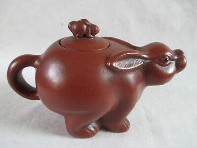 Ceramic tea-pot ancient Chinese zodiac rabbit mother and son