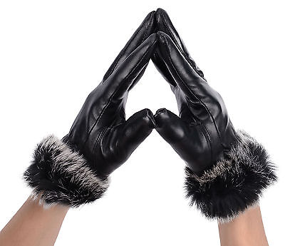 Faux Leather Gloves, Sheepskin Gloves with Warm Fur Gloves Winter Choice