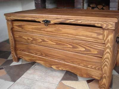 Wooden Blanket Box Coffee Table Trunk Vintage Chest Wooden Ottoman Toy Box (WK1)