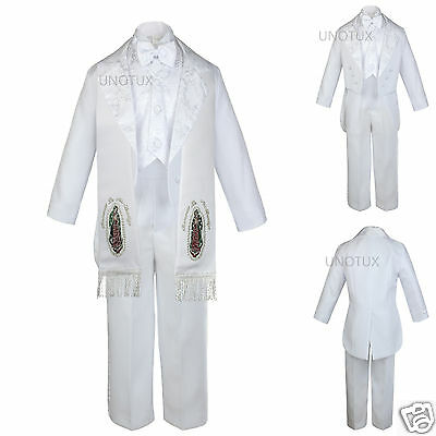 6pc Baby Toddler Kid Boy Baptism Christening Formal Tuxedo Suit Stole White S-7
