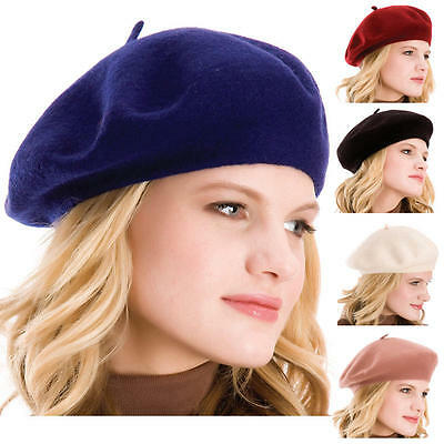 French Style Vintage Unisex Men Women Girls Wool Warm Plain Beret Beanie Hat Cap