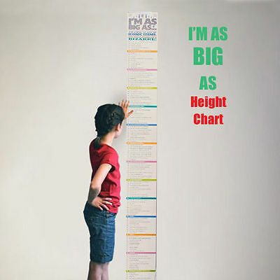 I'm As Big As Fun Facts comparison height chart By Luckies Kids/Childrens/Adults