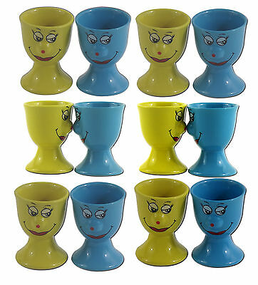 Keramik Eierbecher SET Smiley Face Gelb Blau Eier Becher Eier Ei Halter Smile